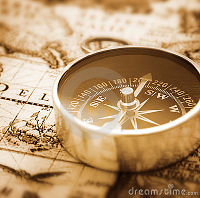Compass on nautical map