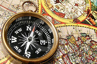 Compass & old world map