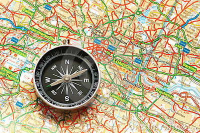 Compass over the map of UK
