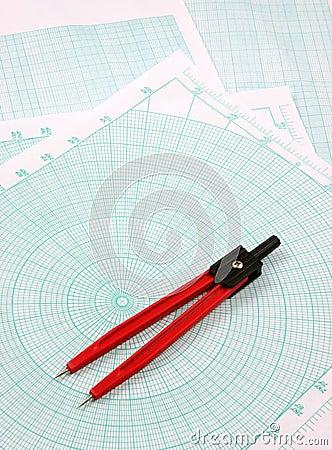 Compass over polar paper