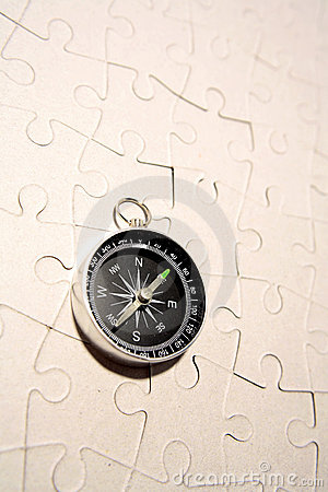 Compass on puzzle