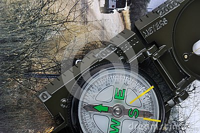 A compass with range finder and travel image