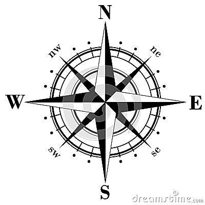 World Map Compass Rose