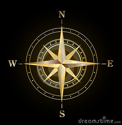 Free Compass Rose Gold Royalty Free Stock Photo - 14801675