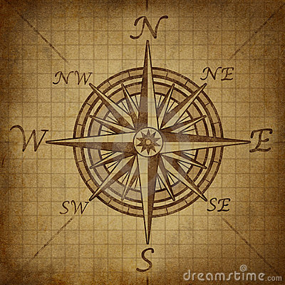 Compass rose with grunge texture