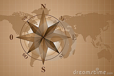Compass Rose on map world