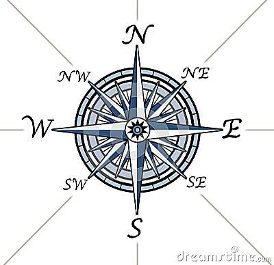 Nautical compass outline compass rose white background