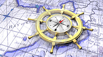 Compass in a ship s wheel