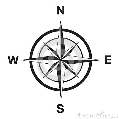 Compass silhouette in black Vector Illustration