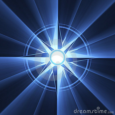 Compass star symbol blue light halo