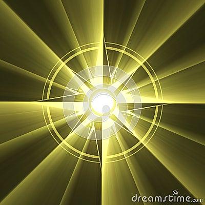Compass star symbol sun light halo