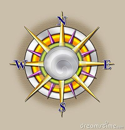 Compass sun illustration