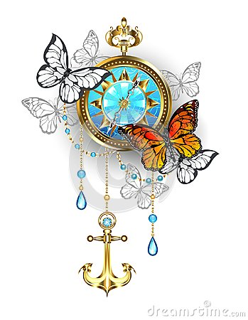 Free Compass With Butterflies  Steampunk Royalty Free Stock Image - 118137656