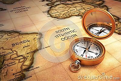 Compasso e mapa velho