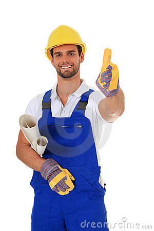 Competent construction worker showing thumbs up