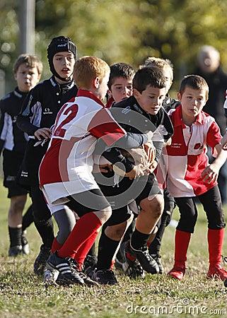 Competiam relativo à promoção do rugby da juventude Fotografia Editorial
