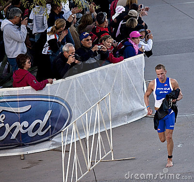 Competitor Racing In Arizona Ironman Triathlon Editorial Photography