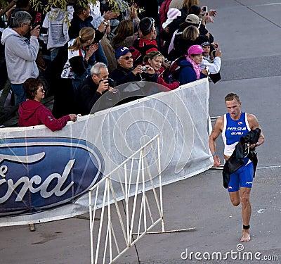 Competitor Racing In Arizona Ironman Triathlon Editorial Photography