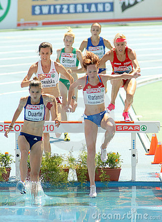Competitors of 3000m Steeplechase Women Editorial Stock Photo