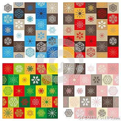 Compilatie van vier naadloze patronen - Kerstmis