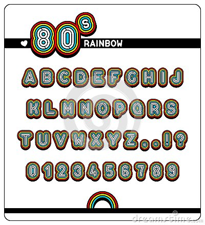 Free Complete Alphabet And Numbers In 80s Rainbow Font Royalty Free Stock Photo - 108032565