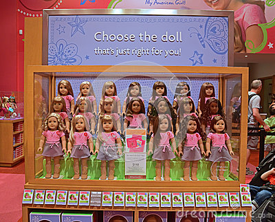 complete american girl dolls set on display editorial photo image 46885031. Black Bedroom Furniture Sets. Home Design Ideas