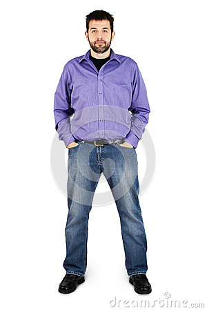 Casual man full body over white