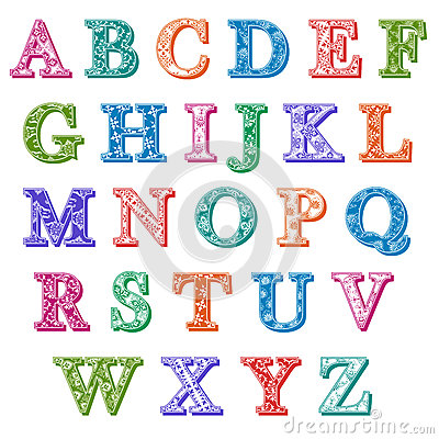 Complete Set Colorful Patterned Alphabet Letters Stock ...