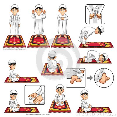 Free Complete Set Of Muslim Prayer Position Guide Step By Step Perform By Boy Royalty Free Stock Image - 69925816