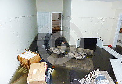 Completely flooded basement next day after Hurricane Sandy in Staten Island Editorial Stock Photo