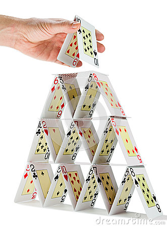 Free Completing A House Of Cards Isolated On White Royalty Free Stock Image - 46471606