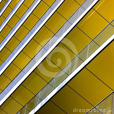 Complex building structural detail, yellow metal b