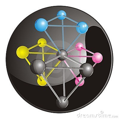 Complex molecule with CMYK coloured  atoms with bl