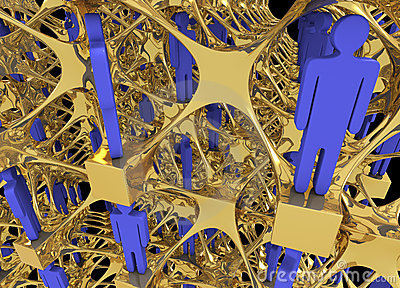 Complex networking structure with human figurines