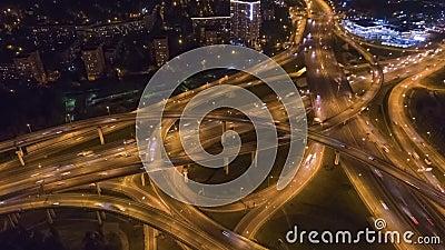 Complex Road Junction Flyover Luchtaanzicht stock videobeelden