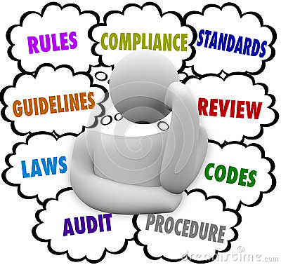 Free Compliance Thinker Confused By Rules Regulations Guidelines Royalty Free Stock Image - 37435046