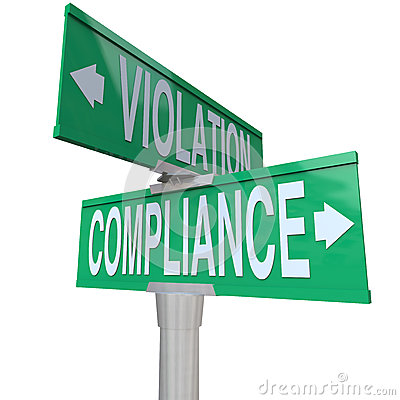 Compliance Vs Violation Street Road Sign Direction Advice Follow
