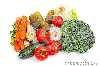 Composición de verduras crudas