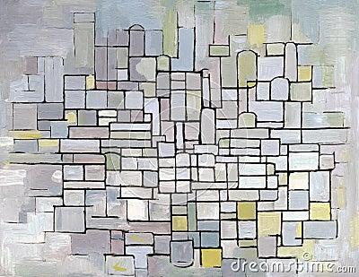 Composición de Mondrian en gris, color de rosa y azul
