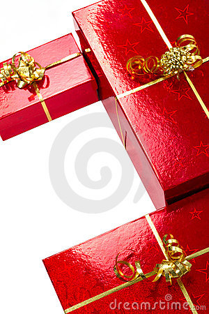 Composition of Christmas gift boxes