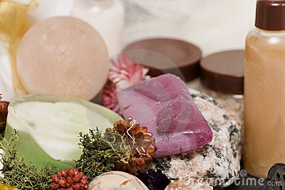 Composition of flowers, spa soaps and elements