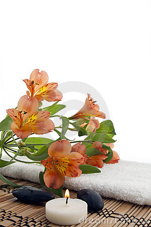 Composition of flowers with spa stones