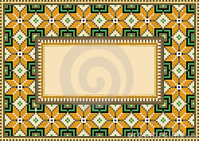 Composition with geometric pattern.Rug.Background.