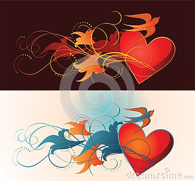 Composition of heart, floral ornament and martlet.