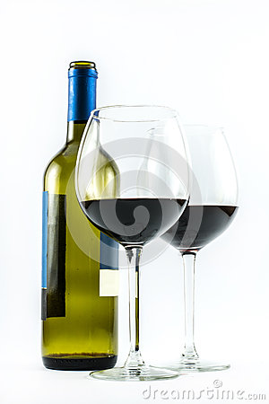 Free Composition Of An Exquisite Bottle Of Wine And Two Elegant Glasses Of Red Wine On A White Background Stock Photos - 61829363