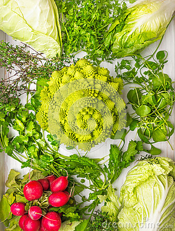 Free Composition Of Varieties Of Cabbage,green Herbs Mix And Radishes Stock Images - 47078014