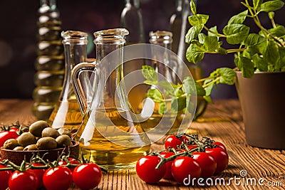 Composition of olive oils in bottles