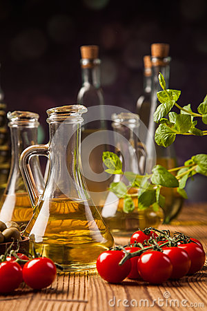 Composition of olive oils in bottles