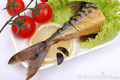 Composition from a smoked mackerel on a plate