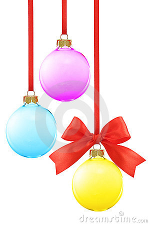 Composition with various color Christmas baubles